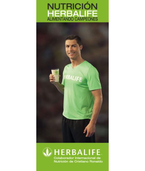 Banner publicitario de Herbalife con su imagen comercial, Christiano Ronaldo