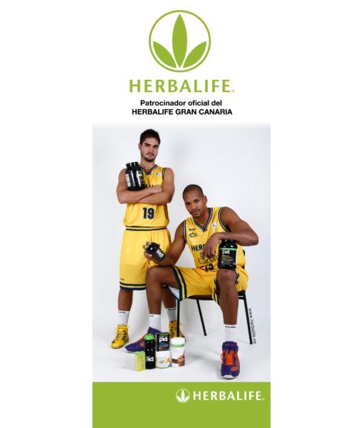 Banner publicitario de Herbalife patrocinador del equipo de Gran Canaria