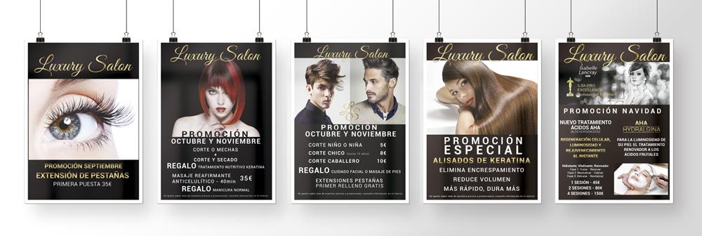 Luxury Salon Posters Promociones, Salon de Belleza Integral en Xàtiva. Diseño de Identidad corporativa por Impresionarte
