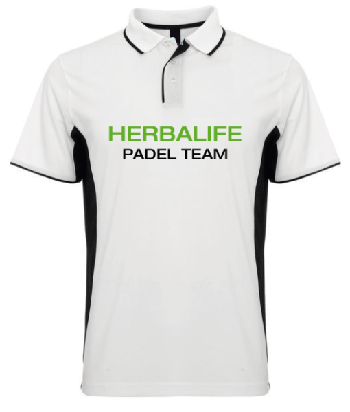 Polo Blanco Herbalife Padel Nutricion Verde Negro