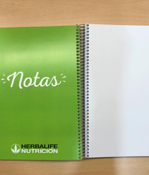 Impresionarte-Xativa-Nutricion-Herbalife-libreta-bloc-cuaderno-libro-apuntes-verde-notas-gusanillo-blanco-hojas-nueva-masterclass-charlas-aprender-clases-estudiar-formacion