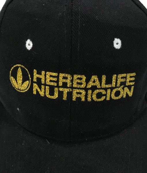 Impresionarte-Xativa-Nutricion-Herbalife-Gorra-visera-adaptable-unisex-negro-dorado-brillante-purpurina-gold-negro-talla-unica-2018-deporte-gym-protege-sol