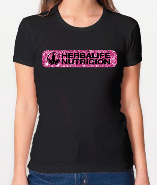 Impresionarte-Xativa-Distribuidores-Herbalife-Nutricion-Imprenta-Camiseta-Shirt-Negra-Pinky-Pink-Rosa-Glitter-Purpurina-Levis-Logo-verano-moda
