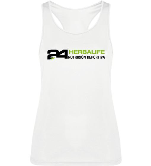 Impresionarte-Xativa-Herbalife-Nutricion-Camiseta-Tirantes-Deportiva-Gimnasio-Running-Sudar-Transpirar-Tecnica-Correr-H24-Fresh-Blanca